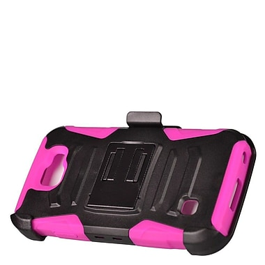 Insten Advanced Armor Dual Layer Hybrid Stand Case + Holster Clip For LG K3 LS450 - Black/Hot Pink