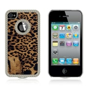 Insten Chrome Hard Skin Back PU Leather Rear Case Cover For Apple iPhone 4 / 4S - Gold Leopard
