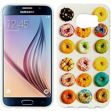 Insten Donuts TPU IMD Rubber Skin Gel Back Shell Case For Samsung Galaxy S6 - White/Colorful