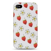 Insten Hard Crystal Rubber Skin Protective Shell Case For Apple iPhone 4 / 4S - White Strawberry