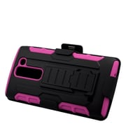 Insten Stand Dual Layer Hybrid Case with Holster For LG Escape 2 - Black/Hot Pink
