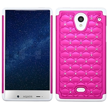 Insten Hard Dual Layer Rubber Silicone Cover Case w/Diamond For Sharp Aquos Crystal - Hot Pink