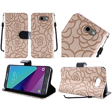 Insten Light Brown Rose Flower Design Textured Flip Wallet Credit Card Leather Stand Case For Samsung Galaxy J3 (2017)
