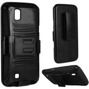 Insten Hard Hybrid Plastic Silicone Cover Case w/Holster For LG K6P - Black