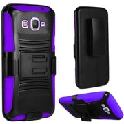 Insten Hard Dual Layer Plastic Silicone Cover Case w/Holster For Samsung Galaxy Amp Prime / J3 (2016) - Black/Purple