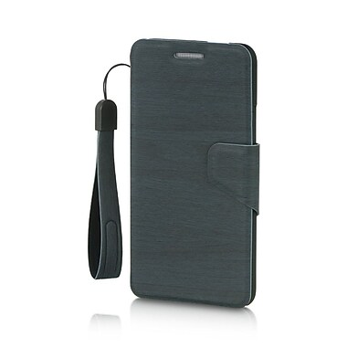 Insten Folio Leather Fabric Cover Case Lanyard w/stand/card slot For HTC One M7 - Blue