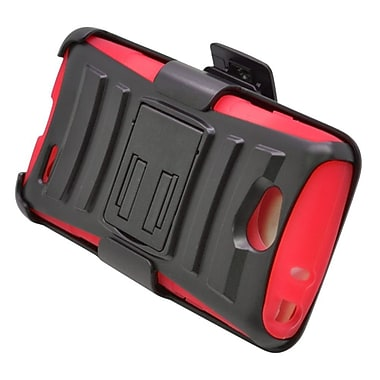 Insten Hard Hybrid Plastic Silicone Stand Case with Holster For LG Optimus L90 - Black/Red