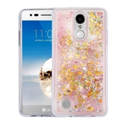Insten Stars Pink Quicksand Glitter Hybrid Hard/TPU Protective Case Cover For LG Aristo / K8 (2017) / LV3