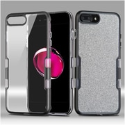 Insten Metallic Full Glitter TUFF Panoview Hybrid Hard/TPU Case Cover For Apple iPhone 7 Plus - Black/Clear Silver