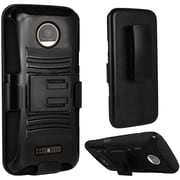 Insten Hard Dual Layer Plastic Silicone Case w/Holster For Motorola Moto Z Force Droid Edition - Black