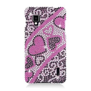 Insten Hearts Hard Bling Cover Case For LG Optimus G LS970 Sprint - Hot Pink
