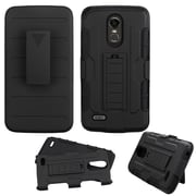 Insten Advanced Armor Stand Hybrid Dual Layer Case with Holster Clip For LG Stylo 3 - Black