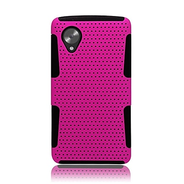 Insten TPU Rubber Hard PC Candy Skin Mesh Case Cover For LG Google Nexus 5 - Hot Pink/Black