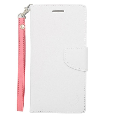 Insten Flip Wallet Leather Case with Card Slot & Lanyard For iPhone 6s Plus / 6 Plus - White/Pink