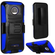 Insten Hard Dual Layer Plastic Silicone Cover Case w/Holster For Motorola Moto Z Force Droid Edition - Black/Blue