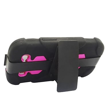 Insten Hard Hybrid Dual Layer Silicone Case w/ Holster Clip for Samsung Galaxy S3 - Black/Hot Pink