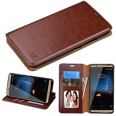 Insten Book-Style Leather Fabric Cover Case w/stand/card holder/Photo Display For ZTE Axon 7 - Brown