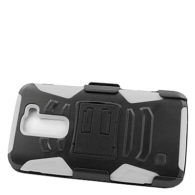 Insten Hard Dual Layer Plastic Silicone Stand Case with Holster For LG K7 - Black/White
