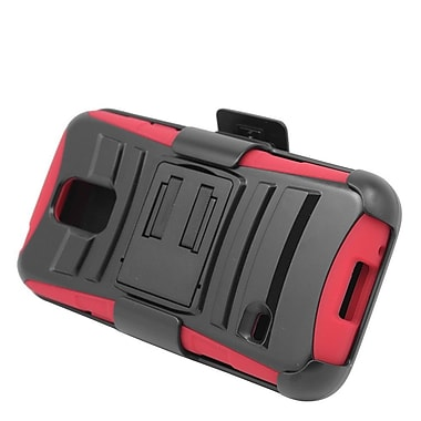 Insten Stand Dual Layer Hybrid Case with Holster For Samsung Galaxy S5 Mini - Black/Red