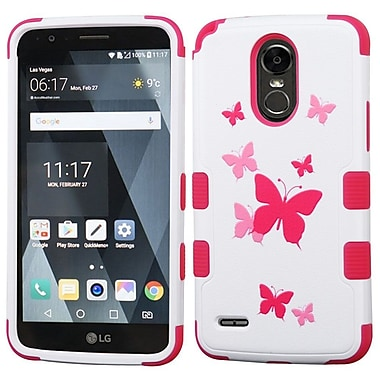 Insten Butterfly Dancing/Hot Pink TUFF Hybrid Phone Protective Cover Case [Military-Grade Certified] For LG Stylo 3