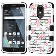 Insten Pink Fresh Roses/Black TUFF Hybrid Phone Protective Cover Case [Military-Grade Certified] For LG Stylo 3