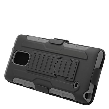 Insten Car Armor Hard Hybrid Plastic Silicone Stand Case with Holster For Samsung Galaxy Note 4 - Black/Gray