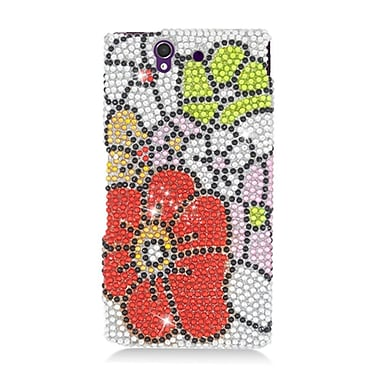 Insten Flowers Hard Rhinestone Cover Case For Sony Xperia Z - Pink/Red