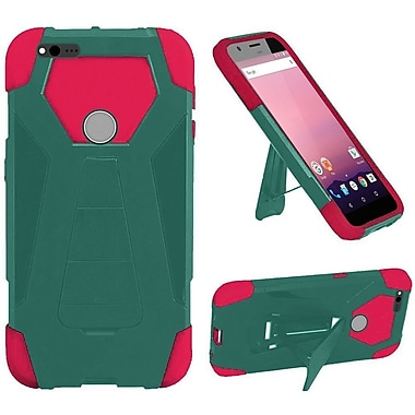 Insten Hard Hybrid Rubberized Silicone Case w/stand For Google Pixel - Teal/Hot Pink