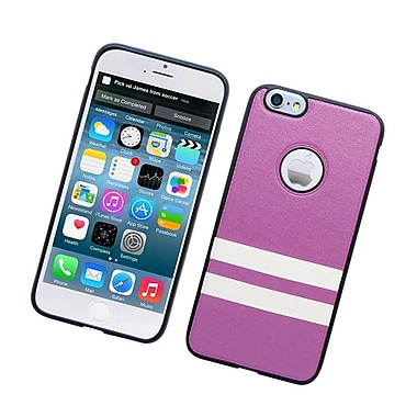 Insten Leather Fabric TPU Cover Case for iPhone 6s Plus / 6 Plus - Purple/White