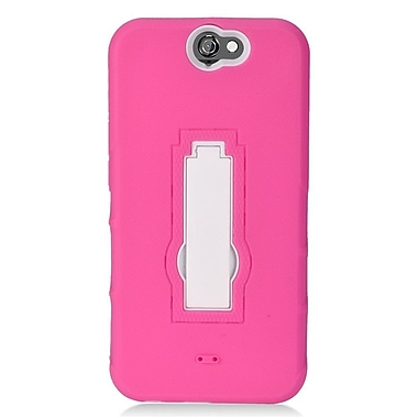 Insten Symbiosis Skin Hybrid Rubber Hard Cover Case w/stand For HTC One A9 - Pink/White