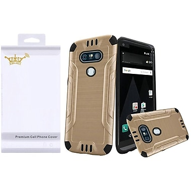 Insten Hard Dual Layer Rubber Coated Silicone Case For LG V20 - Gold/Black