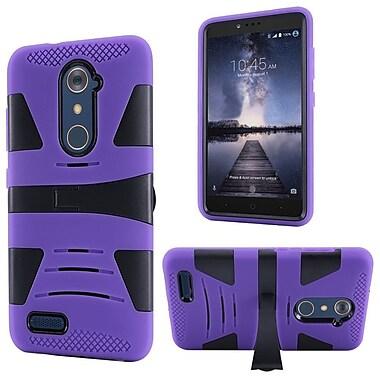 Insten Hard Dual Layer Rubber Silicone Case w/stand For ZTE Zmax Pro - Purple/Black