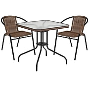 28'' Square Glass Metal Table with Dark Brown Rattan Edging and 2 Dark Brown Rattan Stack Chairs [TLH-073SQ-037BN2-GG]
