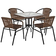 28'' Square Glass Metal Table with Dark Brown Rattan Edging and 4 Dark Brown Rattan Stack Chairs (TLH-073SQ-037BN4-GG)