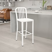 30'' High White Metal Indoor-Outdoor Barstool with Vertical Slat Back [CH-61200-30-WH-GG]