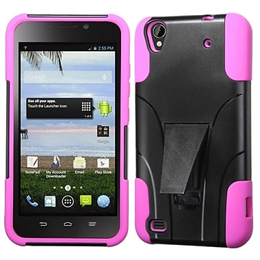 Insten Hard Dual Layer Plastic Silicone Case w/stand For ZTE Quartz Z797c - Black/Hot Pink