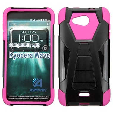 Insten Hard Hybrid Rugged Shockproof Plastic Silicone Case with Stand For Kyocera Hydro Wave - Black/Hot Pink