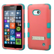Insten Hard Hybrid Rubber Coated Silicone Case with Stand For Microsoft Lumia 640(Metro PCS)/640(T-mobile) - Red/Teal