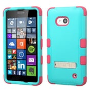 Insten Hard Hybrid Rubber Silicone Case with Stand For Microsoft Lumia 640(Metro PCS)/640(T-mobile) - Teal/Hot Pink