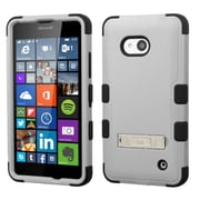 Insten Hard Hybrid Silicone Cover Case with Stand For Microsoft Lumia 640(Metro PCS)/640(T-mobile) - Gray/Black