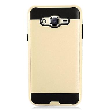 Insten Brushed Metal Hybrid Hard Plastic TPU Shockproof Case Cover For Samsung Galaxy J7 (2015) - Gold/Black