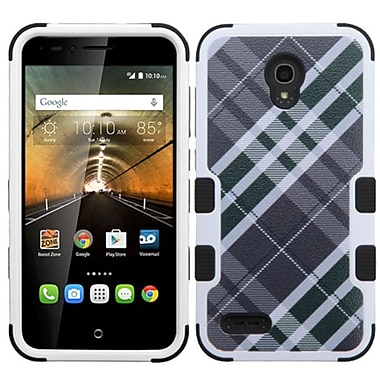 Insten Tuff Diagonal Plaid Hard Hybrid Rubberized Silicone Cover Case For Alcatel One Touch Conquest - Gray/White