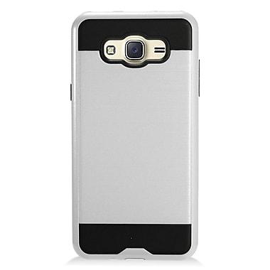 Insten Brushed Metal Hybrid Hard Plastic TPU Shockproof Case Cover For Samsung Galaxy J7 (2016) - Silver/Black