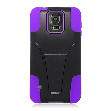 Insten Hard Dual Layer Plastic Silicone Case with stand For Samsung Galaxy S5 - Purple