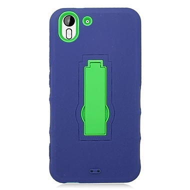 Insten Symbiosis Silicone Dual Layer Rubber Hard Case w/stand For HTC Desire Eye - Blue/Green