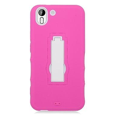 Insten Symbiosis Soft Hybrid Rubber Hard Case w/stand For HTC Desire Eye - Pink/White