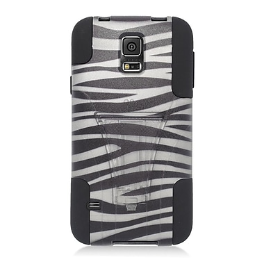 Insten Zebra Hard Hybrid Plastic Silicone Case with stand For Samsung Galaxy S5 - Black/White