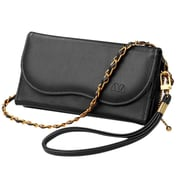 Insten Black Posh Wallet PU Leather Zipper Around Clutch Handbag Bag Magnetic Clasp Pouch For Smartphone Universal