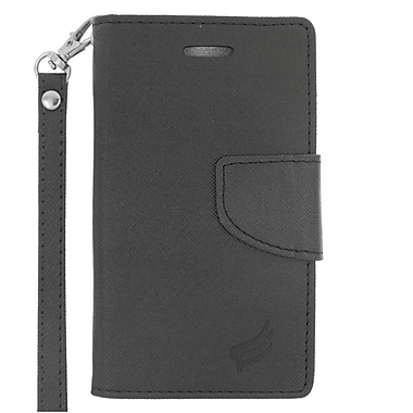 Insten Wallet Leather Case with Card Slot & Lanyard For Microsoft Lumia 435 - Black
