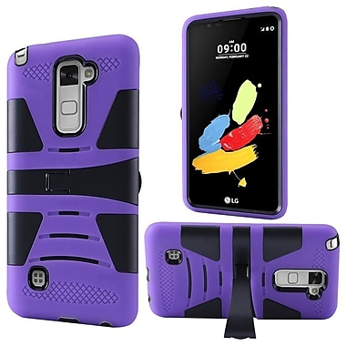 Insten Hard Hybrid Silicone Cover Case w/stand For LG G Stylo 2 - Purple/Black